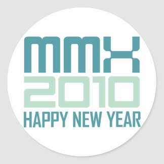 Happy New Year 2010 (MMX) Classic Round Sticker