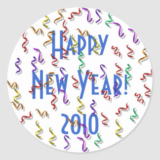 Happy New Year 2010 Classic Round Sticker
