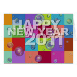 Happy New Year 2011 Card 3D Color Pattern