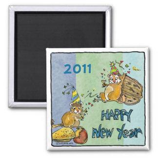 Happy New Year 2011 Chipmunks Cartoon Magnet