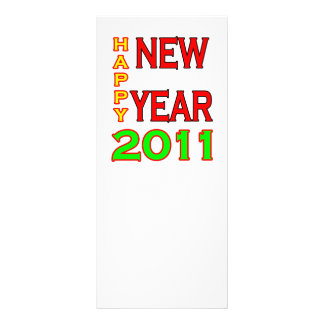 Happy New Year 2011 Green-Red Custom Rack Cards