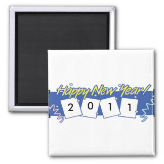 HAPPY NEW YEAR 2011 2 INCH SQUARE MAGNET