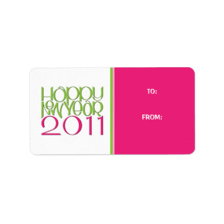 Happy New Year 2011 pink green Gift Tag Label