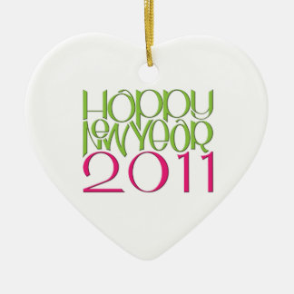 Happy New Year 2011 pink green Heart Ornament