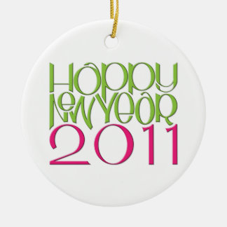 Happy New Year 2011 pink green Round Ornament
