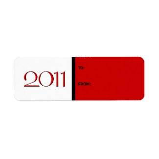 Happy New Year 2011 red black Gift Tag Label label
