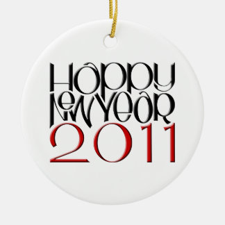 Happy New Year 2011 red black Round Ornament
