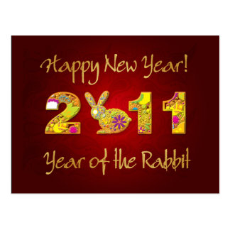 Happy New Year 2011 - Year of the Rabbit Postcard