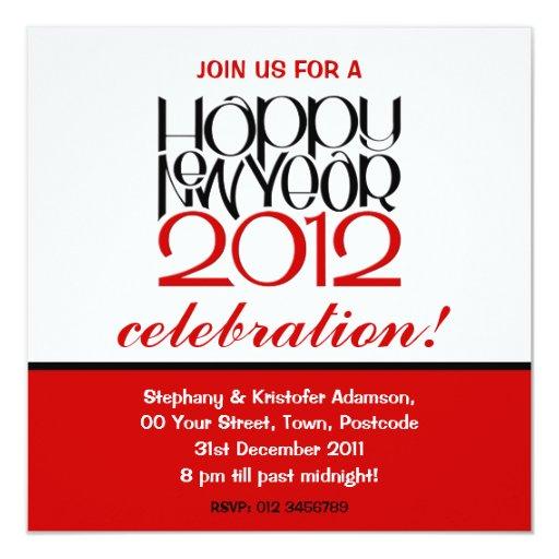 """Happy New Year 2012 black red Invitation 5.25"""" Square Invitation Card"""