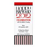 "Happy New Year 2012 black red Party Invitation 4"" X 9.25"" Invitation Card"