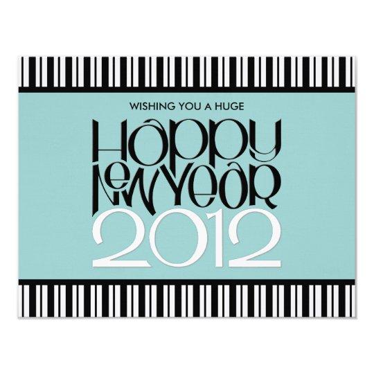 Happy New Year 2012 black white flat Card