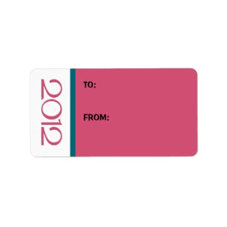 Happy New Year 2012 cranberry teal Gift Tag label