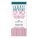 """Happy New Year 2012 cranberry teal Party Invite 4"""" X 9.25"""" Invitation Card"""