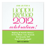 "Happy New Year 2012 lime pink Invitation 5.25"" Square Invitation Card"