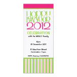 """Happy New Year 2012 lime pink Party Invitation 4"""" X 9.25"""" Invitation Card"""