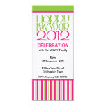"""Happy New Year 2012 pink lime Party Invitation 4"""" X 9.25"""" Invitation Card"""