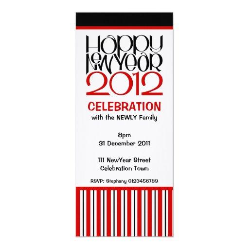"Happy New Year 2012 red black Party Invitation 4"" X 9.25"" Invitation Card"