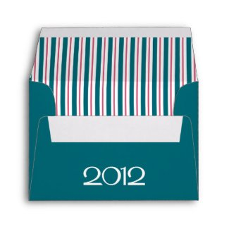 Happy New Year 2012 teal cranberry A2 Envelope envelope