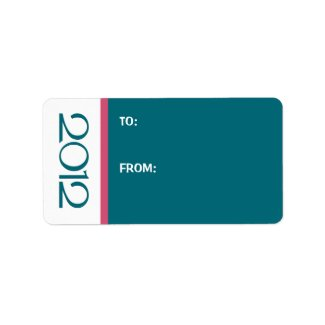 Happy New Year 2012 teal cranberry Gift Tag label