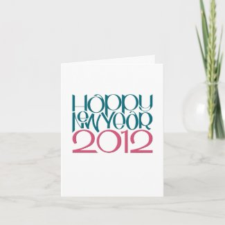 Happy New Year 2012 teal cranberry Note Card card