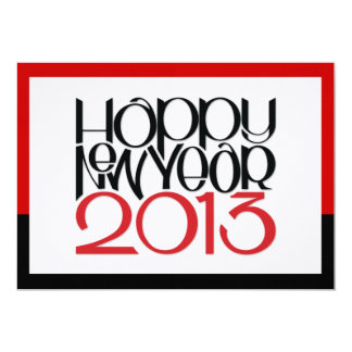 Happy New Year 2013 black red Flat Card