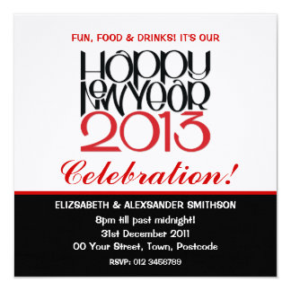 Happy New Year 2013 black red Invitation