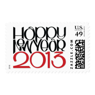 Happy New Year 2013 black red Stamp