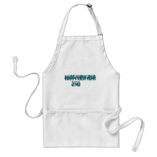 Happy New Year 2013 Blue 3 Dimension Adult Apron