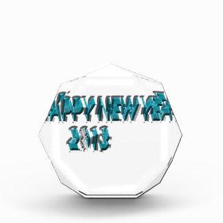 Happy New Year 2013 Blue 3 Dimension Acrylic Award