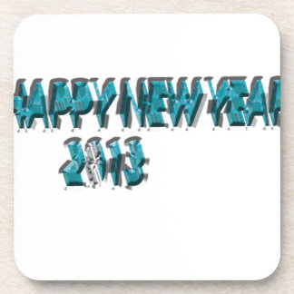 Happy New Year 2013 Blue 3 Dimension Beverage Coaster