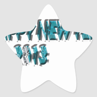 Happy New Year 2013 Blue 3 Dimension Star Sticker