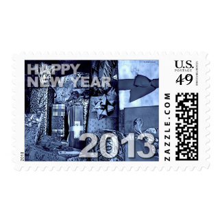 Happy New Year 2013 Blue Gifts Postage