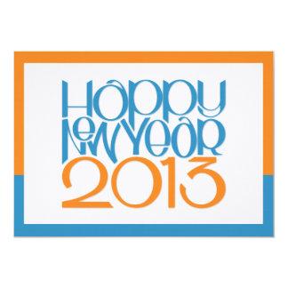 Happy New Year 2013 blue tangerine Flat Card
