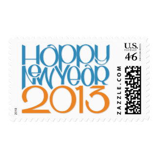 Happy New Year 2013 blue tangerine Stamp