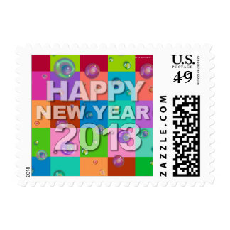 Happy New Year 2013 Postage Bubbles