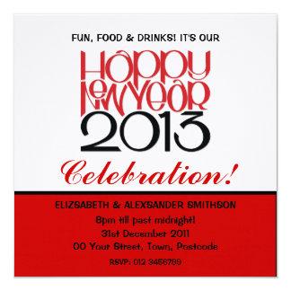 Happy New Year 2013 red black Invitation