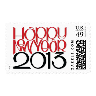 Happy New Year 2013 red black Stamp