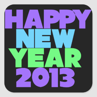 Happy New Year 2013 Square Stickers
