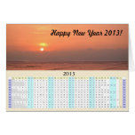 Happy New Year 2013 Sunset over Ocean Greeting Card