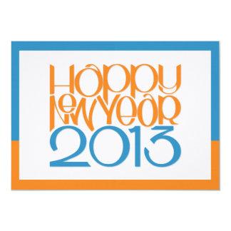 Happy New Year 2013 tangerine blue Flat Card