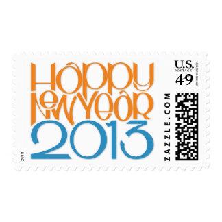 Happy New Year 2013 tangerine blue Stamp