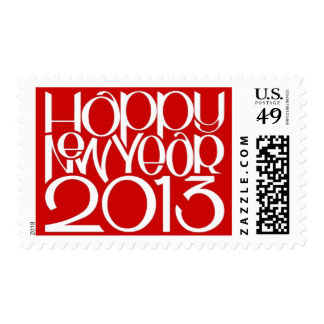 Happy New Year 2013 white red Stamp