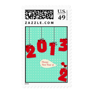 Happy New Year 2013 Year's Postage Stamp Bye 2012
