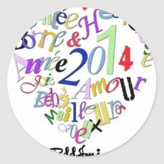 Happy new year 2014 1.png classic round sticker