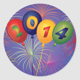 Happy New Year 2014 Balloons and Fireworks Sticker