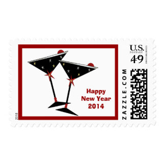 Happy New Year 2014 Champagne Postage Stamp