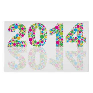 Happy New Year 2014 Colorful Polka Dots Poster