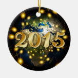 Happy New Year 2015 Double-Sided Ceramic Round Christmas Ornament