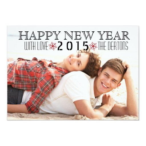 Happy New Year 2015 red snowflake photo 5x7 Paper Invitation Card