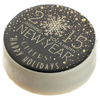 Happy New Year 2015 Snowflake Confetti Holiday Chocolate Dipped Oreo